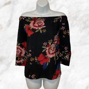 Floral Black Off Shoulder 3/4 Sleeves Top